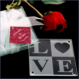"""Love Glass Coaster Wedding Favor"""