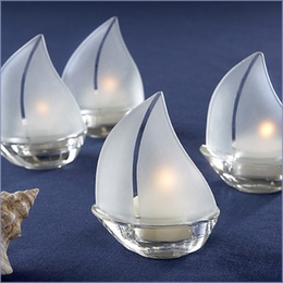 """Set Sail"" Frosted Glass Sailboat Tealight Holders"